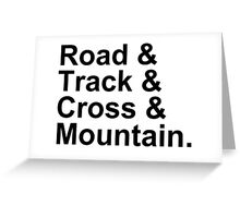 Bicycling Styles - Road, Track, Cross, Mountain Greeting Card