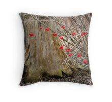 Barely spring - stump and berries Throw Pillow