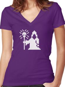 Pixel Necromancer Women's Fitted V-Neck T-Shirt