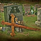 Beautiful Old Weathered Wooden Cross against Black Marble by Jane Neill-Hancock