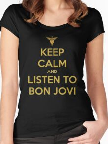 Keep Calm And Listen To Bon Jovi Women's Fitted Scoop T-Shirt