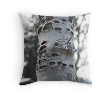 Woodpecker's tree Throw Pillow