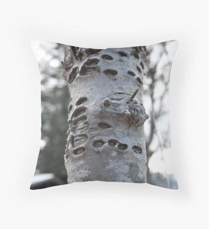 Woodpecker's tree Throw Pillow