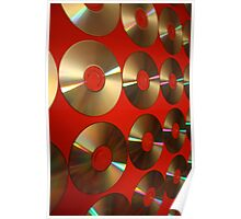 Red CD's on Canvas Poster