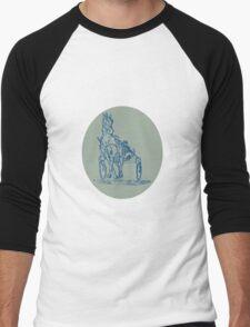 Horse and Jockey Harness Racing Etching Men's Baseball ¾ T-Shirt
