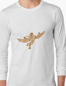Harpy Flying Front Etching Long Sleeve T-Shirt