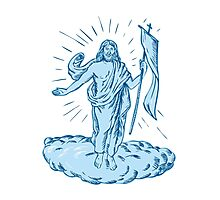 Jesus Christ Resurrection Etching Photographic Print