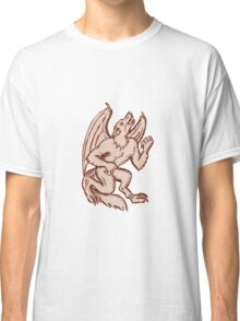 Kludde Black Dog Howling Etching Classic T-Shirt
