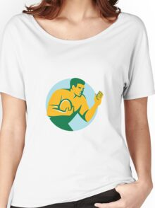 Rugby Player Fend Off Circle Retro Women's Relaxed Fit T-Shirt