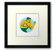 Rugby Player Fend Off Circle Retro Framed Print