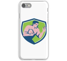 Rugby Player Ball Fend Off Shield Retro iPhone Case/Skin