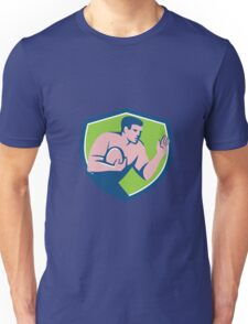 Rugby Player Ball Fend Off Shield Retro Unisex T-Shirt