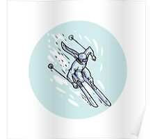Skiing Slalom Circle Etching Poster