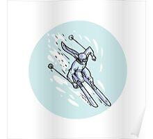 Skiing Slalom Circle Etching Poster