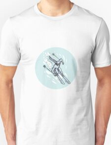 Skiing Slalom Circle Etching T-Shirt