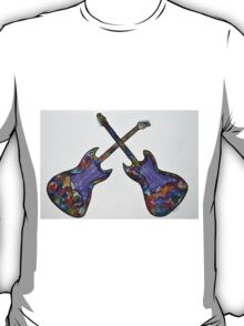 Colorful Guitar abstract painting Two is company modern pop T-Shirt