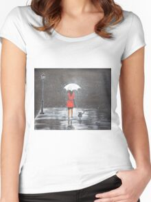 Stroll in the rain Women's Fitted Scoop T-Shirt