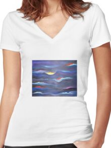 Dream Waves-Abstract Women's Fitted V-Neck T-Shirt
