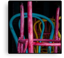 Colourful chairs of the thriving Melbourne coffee culture, closed on Sunday afternoon Canvas Print