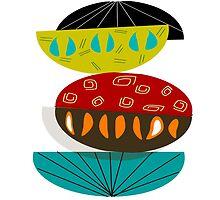 Mid-Century Whimsical Half Moons  by Gail Gabel, LLC