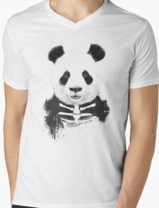 Zombie panda Mens V-Neck T-Shirt