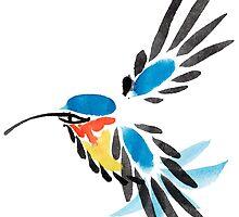 Watercolor blue hummingbird in flight.  by OlgaBerlet