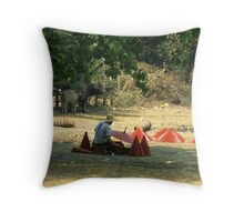 Painting Paper Umbrellas, Near Chiang Mai, Northern Thailand. Throw Pillow