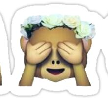 Monkey See No Evil Flower Crown Emoji Sticker
