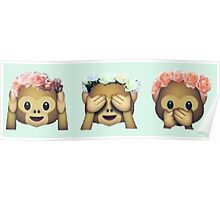 Monkey See No Evil Flower Crown Emoji Poster
