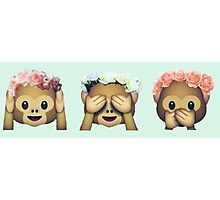 Monkey See No Evil Flower Crown Emoji Photographic Print