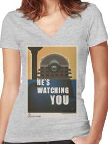 He is Watching You! Women's Fitted V-Neck T-Shirt