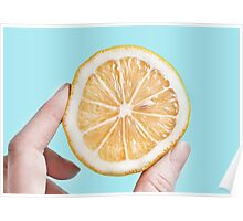 Juicy lemon on a blue background Poster