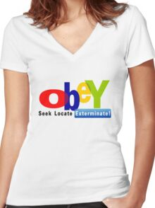 Obay  Women's Fitted V-Neck T-Shirt