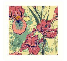 SeaSeamless pattern with decorative  iris flower in retro colors. mless pattern with decorative  iris flower in retro colors.  Art Print