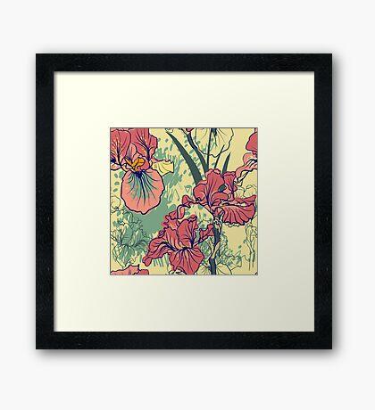 SeaSeamless pattern with decorative  iris flower in retro colors. mless pattern with decorative  iris flower in retro colors.  Framed Print