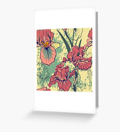 SeaSeamless pattern with decorative  iris flower in retro colors. mless pattern with decorative  iris flower in retro colors.  Greeting Card