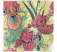 SeaSeamless pattern with decorative  iris flower in retro colors. mless pattern with decorative  iris flower in retro colors.  Poster