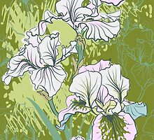 Seamless pattern with decorative  iris flower in retro colors.  by OlgaBerlet