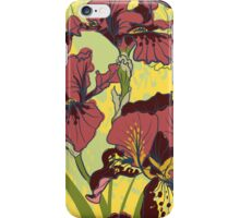 Seamless pattern with decorative  iris flower in retro colors.  iPhone Case/Skin