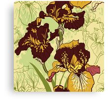 Seamless pattern with decorative  iris flower in retro colors.  Canvas Print