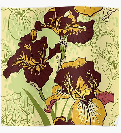 Seamless pattern with decorative  iris flower in retro colors.  Poster