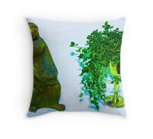 mary with jesus with chalice of shamrock  Throw Pillow
