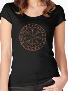 Vegvísir - copper grunge Women's Fitted Scoop T-Shirt