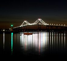 Claiborne Pell Bridge at Night by Andrew Stockwell