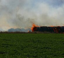 Hay Fire, Thrall, Texas by garytx