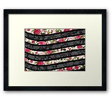 Pink, Black, and White Floral Print Swish  Framed Print