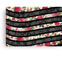Pink, Black, and White Floral Print Swish  Canvas Print