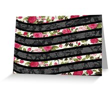 Pink, Black, and White Floral Print Swish  Greeting Card