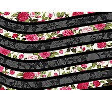 Pink, Black, and White Floral Print Swish  Photographic Print
