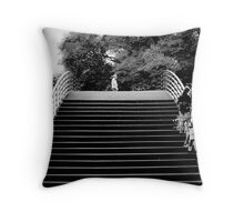 stairway in the woods Throw Pillow
